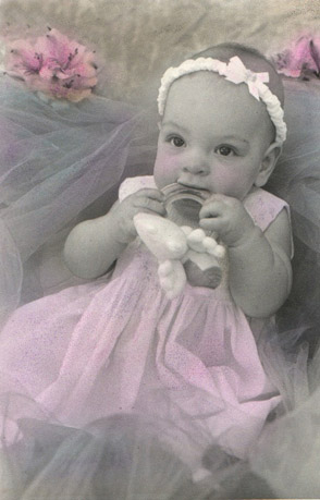 Hand colored photograph of the Tulle baby