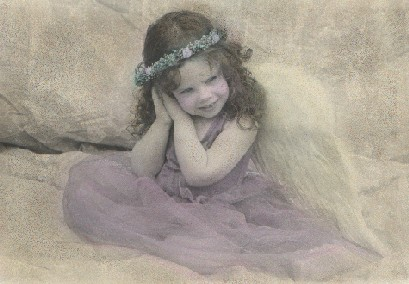 Hand colored photograph of little angel
