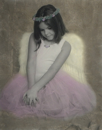 Hand colored photograph of Melanie the lilangel