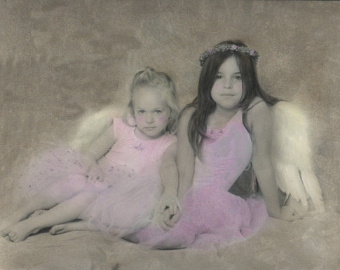 Hand colored photograph of Gabby and Melanie
