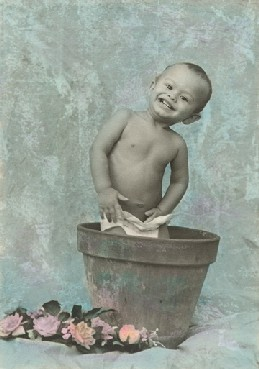 Handcolored photograph of little boy in flower pot